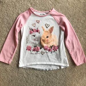NWOT Girls 3T Baseball Shirt with Bunnies